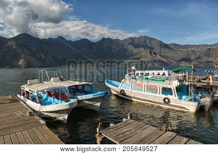 January 18 2015 San Pedro la Laguna Guatemala: small water taxis are the cheapest nd fastest way of traveling acros Lake Atitlan