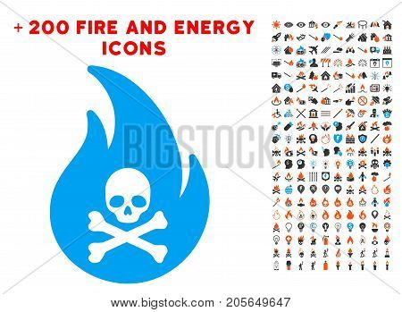 Hell Fire pictograph with bonus fire pictures. Vector illustration style is flat iconic symbols for web design, app user interface.