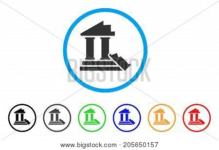 Historic Ruins rounded icon. Style is a flat historic ruins grey symbol inside light blue circle with black, gray, green, blue, red, orange variants. Vector designed for web and software interfaces.