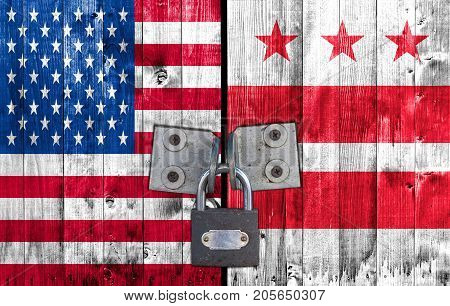 US and District of Columbia flag on door with padlock