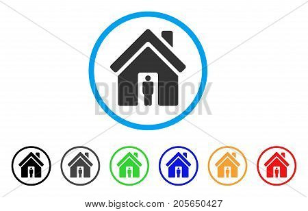 House Owner rounded icon. Style is a flat house owner grey symbol inside light blue circle with black, gray, green, blue, red, orange color versions. Vector designed for web and software interfaces.