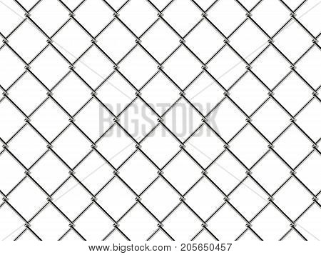 Chain link fence pattern. Realistic geometric texture. Graphic design element for corporate identity, web sites, catalog. Industrial style wallpaper. Steel wire wall isolated on white. 3D illustration.