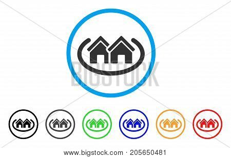 Houses Area rounded icon. Style is a flat houses area grey symbol inside light blue circle with black, gray, green, blue, red, orange versions. Vector designed for web and software interfaces.