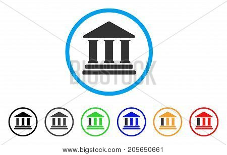 Library Building rounded icon. Style is a flat library building grey symbol inside light blue circle with black, gray, green, blue, red, orange versions.