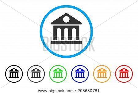 Museum Building rounded icon. Style is a flat museum building gray symbol inside light blue circle with black, gray, green, blue, red, orange versions. Vector designed for web and software interfaces.