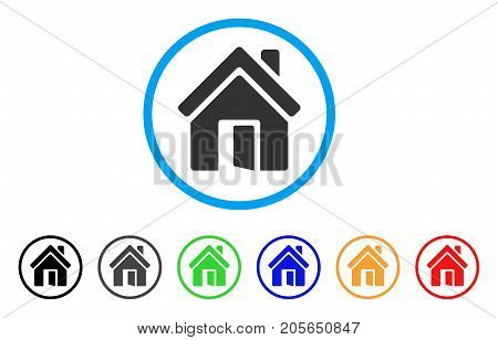 Open House Door rounded icon. Style is a flat open house door gray symbol inside light blue circle with black, gray, green, blue, red, orange color versions.