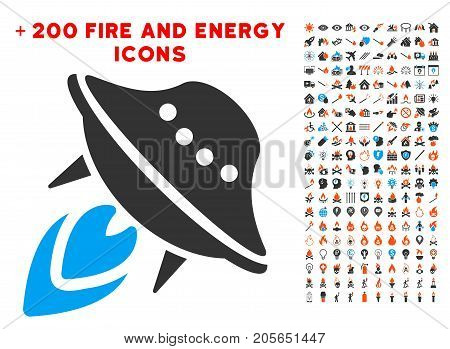 UFO Start icon with bonus fire pictograms. Vector illustration style is flat iconic elements for web design, app user interface.