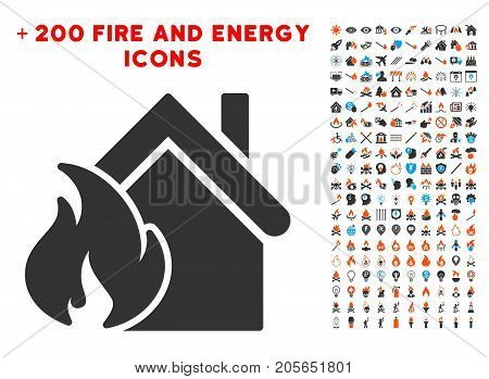 Realty Fire Disaster pictograph with bonus power icon set. Vector illustration style is flat iconic symbols for web design, application user interface.