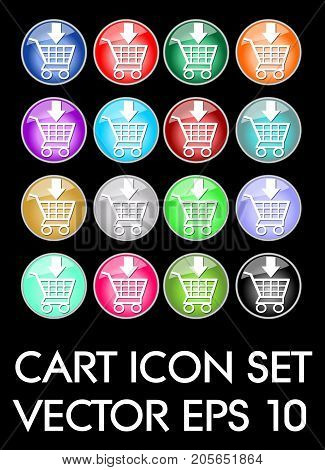 Set of elegant cart icons, circle glass button in different color variants, flat buttons with white cart pictogram, vector EPS 10