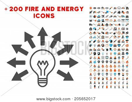 Ultraviolet Lamp icon with bonus fire pictograph collection. Vector illustration style is flat iconic elements for web design, app user interface.
