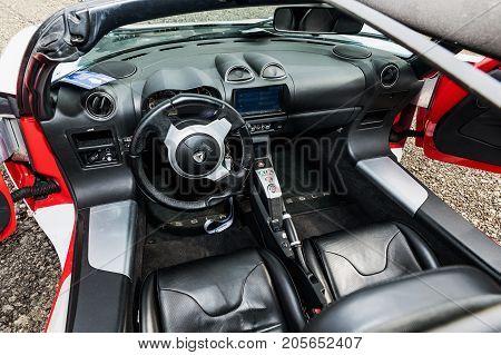 VESTEC CZECH REPUBLIC - SEPTEMBER 23 2017. Dashboard Tesla Roadster. The interior of the Tesla Tesla Roadster racing model.