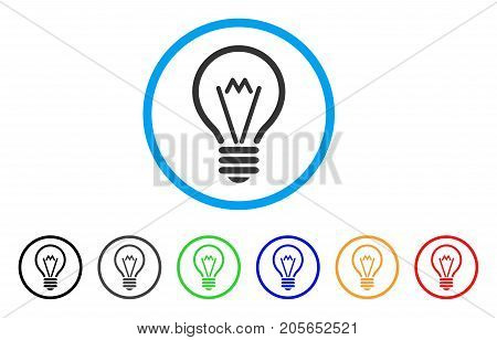 Electric Bulb rounded icon. Style is a flat electric bulb grey symbol inside light blue circle with black, gray, green, blue, red, orange versions. Vector designed for web and software interfaces.