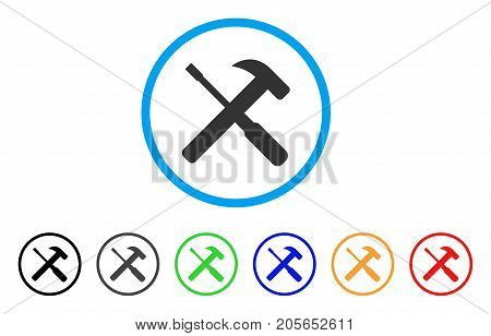 Hammer And Screwdriver Tools rounded icon. Style is a flat hammer and screwdriver tools gray symbol inside light blue circle with black, gray, green, blue, red, orange color versions.