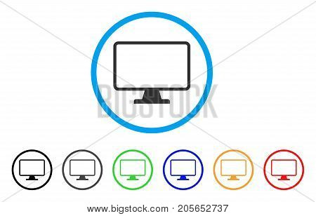 Monitor rounded icon. Style is a flat monitor grey symbol inside light blue circle with black, gray, green, blue, red, orange color versions. Vector designed for web and software interfaces.