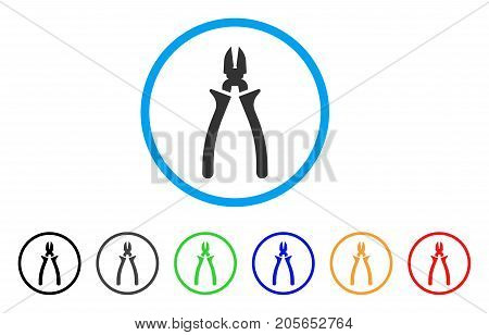 Nippers rounded icon. Style is a flat nippers gray symbol inside light blue circle with black, gray, green, blue, red, orange variants. Vector designed for web and software interfaces.