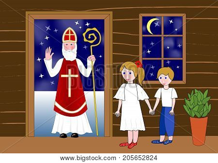 Saint Nicolas in the door of wooden house. Two cute children waiting in room. Little girl holds a little boy by the hand. Vector EPS 10