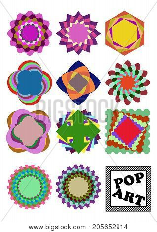 Set of variegated design shapes in pop art style. Cheeerful circle or square shapes in vivid colors. Simple geometric elements. Vector EPS 10