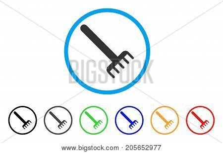 Rake rounded icon. Style is a flat rake gray symbol inside light blue circle with black, gray, green, blue, red, orange color versions. Vector designed for web and software interfaces.