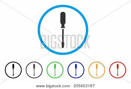 Screwdriver rounded icon. Style is a flat screwdriver grey symbol inside light blue circle with black, gray, green, blue, red, orange versions. Vector designed for web and software interfaces.
