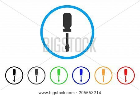 Screwdriver rounded icon. Style is a flat screwdriver gray symbol inside light blue circle with black, gray, green, blue, red, orange variants. Vector designed for web and software interfaces.