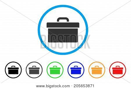 Toolbox rounded icon. Style is a flat toolbox grey symbol inside light blue circle with black, gray, green, blue, red, orange variants. Vector designed for web and software interfaces.