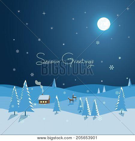 New Year Winter Season Holidays greeting card. Playful Christmas landscape on dark blue fairytale night. Reindeers pine forest rural house. Hand drawn cartoon seasonal vector decorative illustration