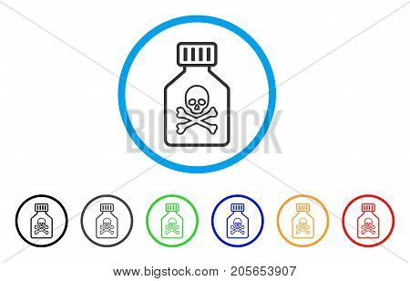 Toxic Vial rounded icon. Style is a flat toxic vial gray symbol inside light blue circle with black, gray, green, blue, red, orange variants. Vector designed for web and software interfaces.