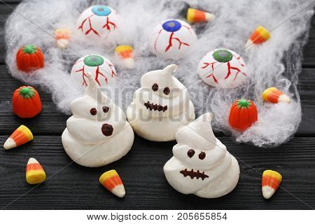 Halloween Candy Corns On Grey Wooden Table