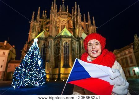 Woman In The Front Of St. Vitus Cathedral Showing Czech Flag