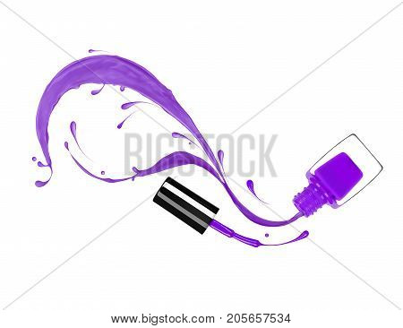 Splashes of violet nail polish pour out of the bottle isolated on white background