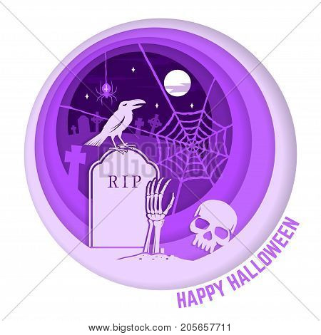 Happy Halloween. Paper art carving style design for Halloween overlay, labels, shirt, logo, print, seal. Raven and skeleton hand on the cemetery. Typography design- stock vector.