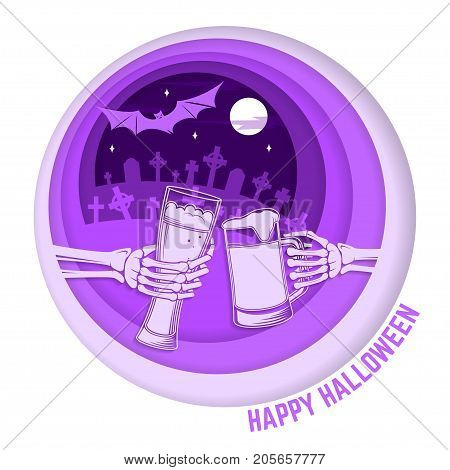 Happy Halloween. Paper art carving style design for Halloween overlay, labels, shirt, logo, print, seal. Skeleton hands with glasses of magic beers. Typography design- stock vector.