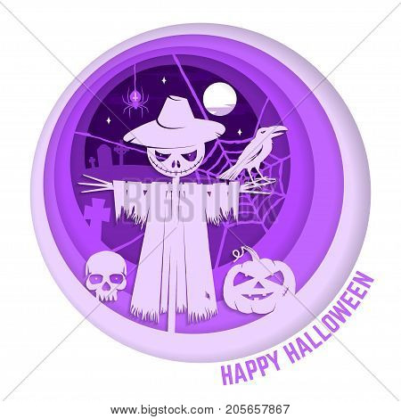Happy Halloween. Paper art carving style design for Halloween overlay, labels, shirt, logo, print, seal. Scarecrow with raven and pumpkin in the cemetery. Typography design- stock vector.