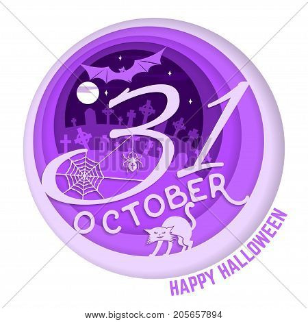 Happy Halloween. Paper art carving style design for Halloween overlay, labels, shirt, logo, print, seal. 31 october with cat and bat in the cemetery. Typography design- stock vector.