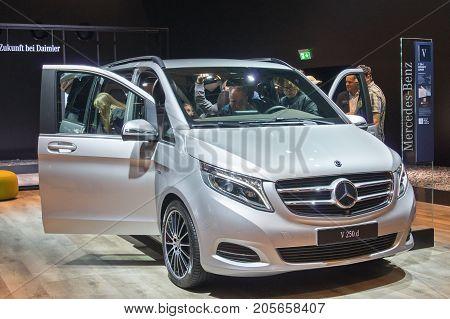 Frankfurt-September 20: Mercedes-Benz V 250 d at the Frankfurt International Motor Show on September 20 2017 in Frankfurt
