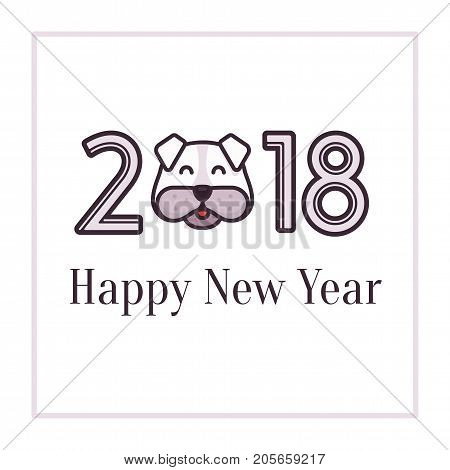 Flat vector illustration Happy New Year 2018 greeting card. Dog sign, symbol of the new 2018 year on the Chinese calendar. Banner for design new year card, invitation, party flyer, calendar etc.