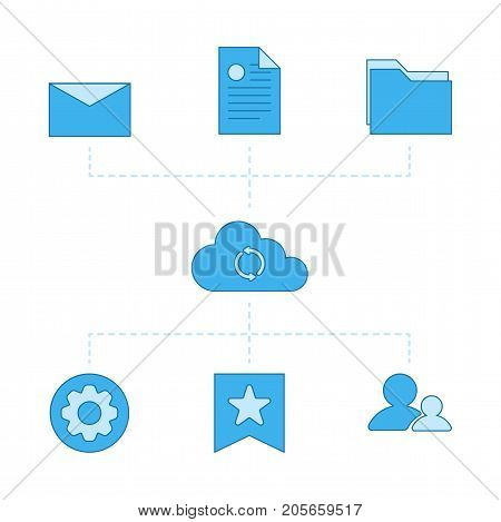 Abstract design network files sync vector illustration. Cloud computing concept design. Files, folder, contacts, settings, favorites and bookmarks connected to the device. Vector illustration in flat design style