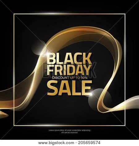 Black Friday Sale on abstract shiny gold wave stripe background, design element for design template, vector illustration