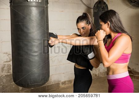 Practicing Some Punches In A Gym