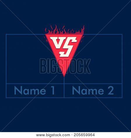 Versus frame design. Blue screen with VS letters symbol. Vector illustration