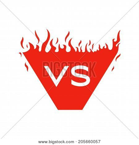 Versus text and shape with fire frames. Flaming VS symbol for duel and confrontation. Flat illustration isolated on white background