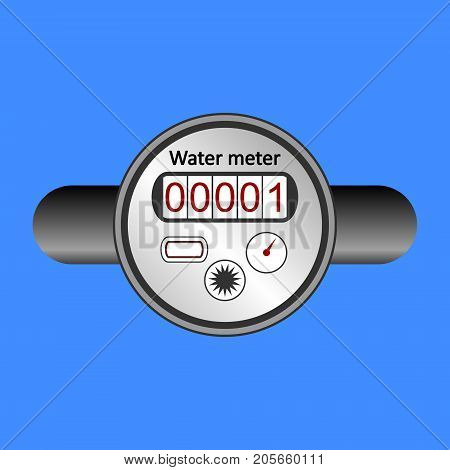 Water meter icon on blue background. Vector illustration.