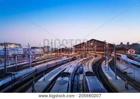 Aerial view of Gare du Nord terminus station with high-speed trains at the platforms, Paris, France