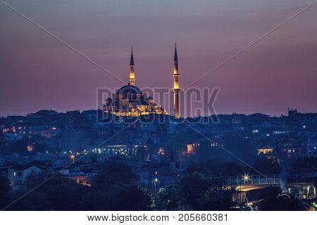 Sultan Yavuz Selim Mosque and night view of Istanbul Turkey