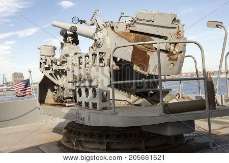 Vintage Wwii Gun Mounted On Liberty Ship