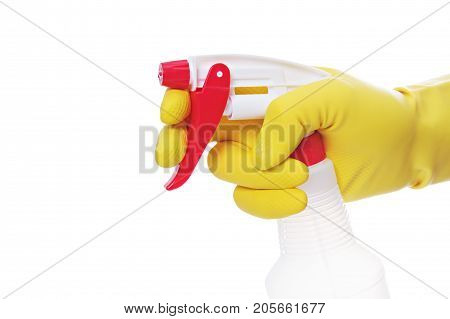 a maid with rubber gloves cleaning up.
