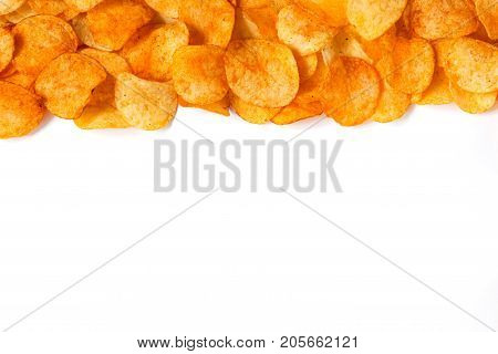 Golden Chips Potato Texture. Chips On White Background With Place For Text