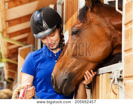 Close-up portrait of beautiful young woman in jockey skull standing by stable with her bay horse