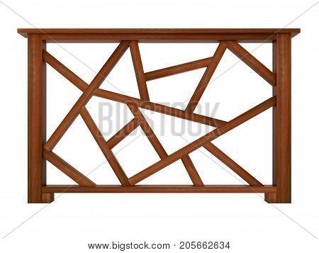 wooden design railing 3d render model
