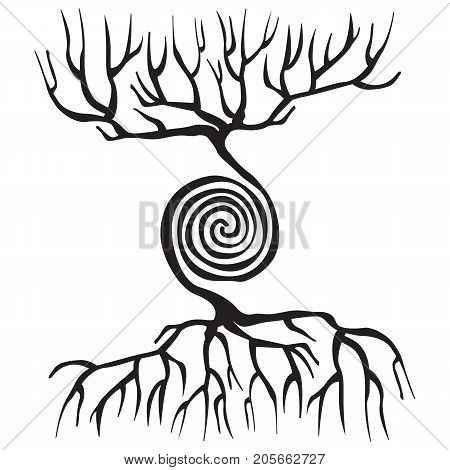 Tree symbol with roots and a spiral. silhouette